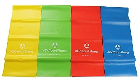 Kit de 4 bandes de fitness »Lavana« / bande sportive, bande d'entraînement dans les couleurs et forces jaune 0,35 légère/ vert 0,45 moyenne / rouge 0,55 forte / bleu 0,75 intense
