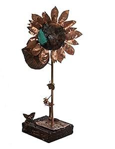 Genio Italiano, lavorazione artistica del rame - Girasole in rame con base in legno