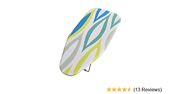 76 x 30cm Addis Table Top Ironing Board with Hanging Hook Blue Green Leaf Mix Design Metal 2.5 x 31.5 x 74 cm