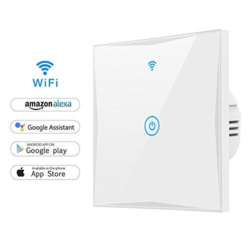 Wifi Smart Lichtschalter, MAMYOK WLAN In-Wall gehärtetes Glas Touchscreen-Schalter, arbeitet mit Amazon Alexa und Google Home, Überlastungsschutz, Timing-Funktion (Neutraler Draht und 2,4 GHz WLAN benötigt!)