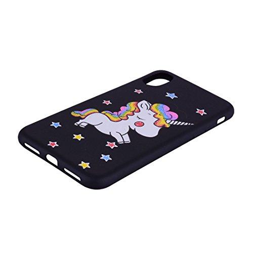 iPhone X Copertura,Modello variopinto di Bling del fumetto sveglio creativo Custodia protettiva della pelle in gomma sottile TPU Case per iPhone X ,Stelle Unicorn nero