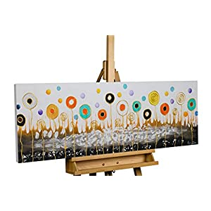 KunstLoft® Painting 'Ready for Take Off' 47x16inches | Large, original hand-painted canvas | abstract flowers nature colourful brown | Modern art acrylic mural on frame