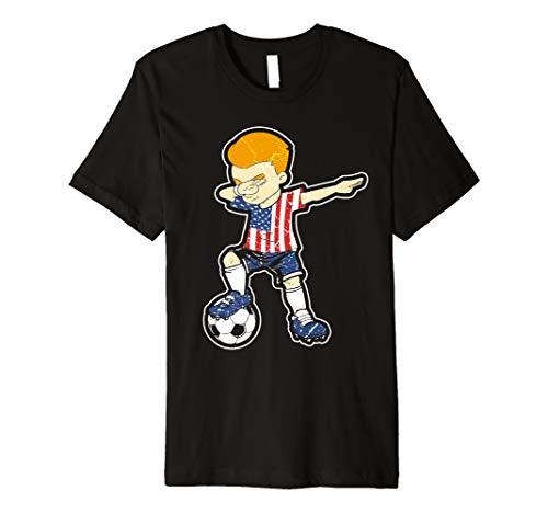 0f38bd9f499 Dabbing Soccer Boy USA T-Shirt America Football Tee