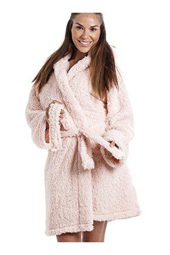 Robe de chambre à capuche - en polaire très douce - légère/de luxe - rose 38/40