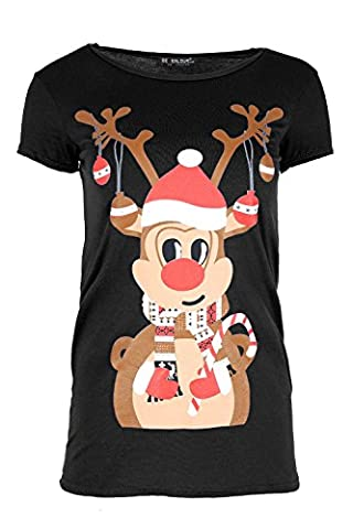 Womens Christmas T Shirt Ladies Reindeer Candy Stick Jersey Stretchy