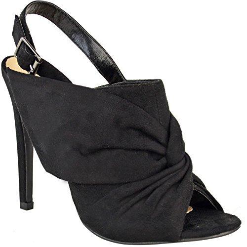 Sandales/escarpins à talon aiguille - bout ouvert/boucle arrière/noeud décoratif Faux suède noir / élégant/ sexy