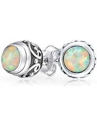 EYS Jewelry Tortoise 925Sterling Silver Opal Heart Stud Earrings 8x 6mm Earring iCrNYB3