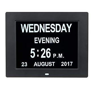 MASUNN 7 Inch Led Digital Calendar Day Clock Extra Large Time Day Week Month Year - Black