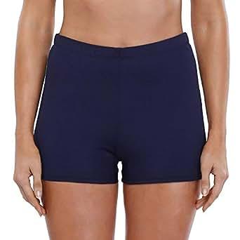 Avacoo Badeshorts Badehose Damen High Waist Bikinihose Schwimmhose Sport Bikini Shorts UV Schutz Bade Hotpants Dunkelblau 36 S UK8