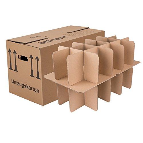 25 Gläserkartons mit 30/15 Fächern Flaschenkartons für Umzug Verpackung Umzugskartons thumbnail