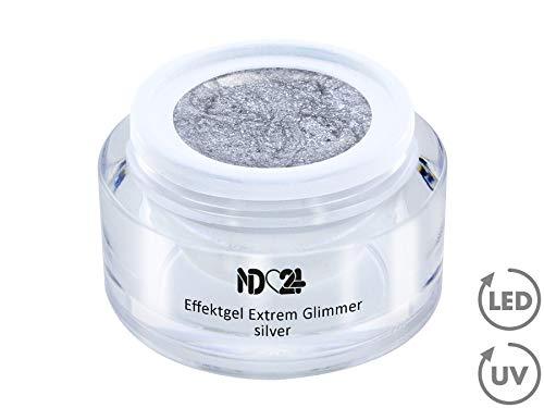 5ml - UV LED Effekt-Gel EXTREM GLIMMER silver - SILBER - Effekt Gel Naildesign FarbgGel NagelGel für Nageldesign Modellage - Nail Art Gel - Studio Qualität - MADE IN GERMANY