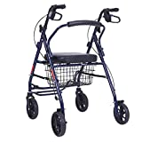 Faltbare gehende Bewegungs-Hilfe, Wanderer, Rollator, Einkaufswagenlaufkatze mit Sitz und Handbremse, für älteres (Blau)