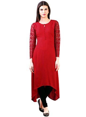 Desi Knots Women's Red Crepe Long kurti- (IDW-00033-XL)