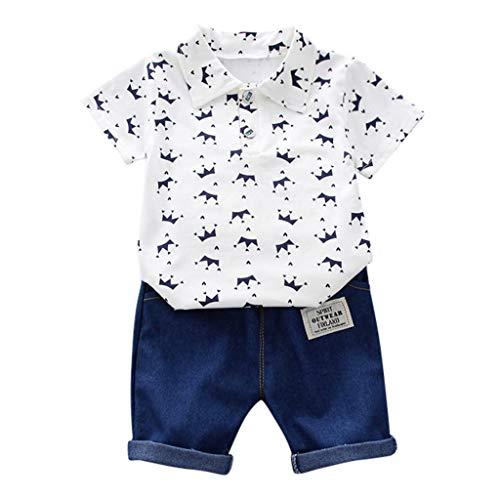 LEXUPE Kleinkind Kinder Baby Boy Kurzarm Crown Muster Shirt Tops + Denim Hosen Set(Weiß,100/L) - Baby Boy-mütze Fäustlinge Und