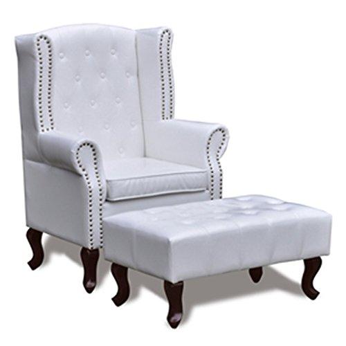 vidaXL Chesterfield Ohrensessel Hocker Kamin Ohrenbacken Lounge Couch Büro Sofa -