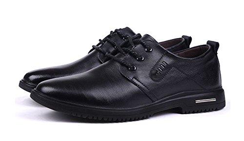Wealsex Chaussures à Lacets Derby Homme Uni Oxford Cravate Chaussures avec Doublure En Cuir Noir