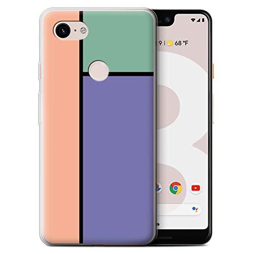 Stuff4® Gel TPU Hülle/Case für Google Pixel 3 XL / 3 Fliesen/Lila Muster/Pastell Fliesen Kollektion