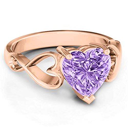 Engagement Ring for Women with Purple Heart-Shaped Amethyst and Rose Gold Plated 18 Carat