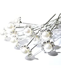 LondonProm @ 6 x Wedding Bridal Prom Diamante and White Faux Pearl Flower Hair Pins