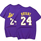 Shocly Manica Corta T-Shirt Maglietta Los Angeles Lakers No.23 James Kobe Bryant Pallacanestro Club Round Neck da per Uomo,24purple,2XL/90-100KG