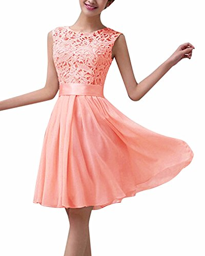 ZANZEA Damen Spitze Ärmellos Party Club Kurz Slim Abend Brautkleid Cocktail Ballkleid Rosa EU 44/US 12 (Ärmelloses Chiffon-cocktail-kleid)
