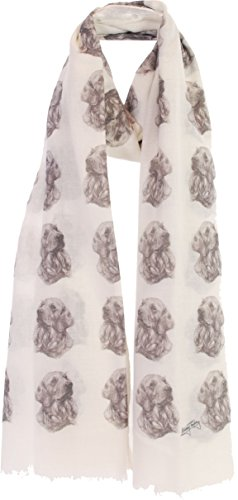 Golden Retriever Fashion Design Limited Edition Ladies Scarf - Exclusive Mike Sibley Fashion Scarf Signature Collection - Perfect Gift for Any Dog Lover - Hand Printed in the UK