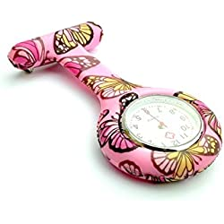 Fashion Silicone Nurse Watch Durable Brooch Fob Medical Watch - 20 Cute Patterns by Lizzy® (Pink Butterfly)