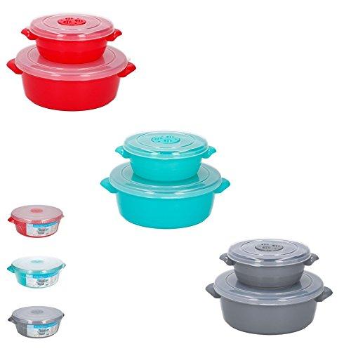3 Farben 1L / 2L Mikrowellengeschirr Frischhaltedosen Schüsselnset Dosenset Küchenhelfer mit Deckel