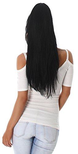 Voyelles Damen Shirt schulterfrei im eleganten Design Weiß