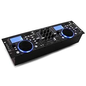 Skytec STC-55 - Contrôleur DJ 2 canaux, table de mixage USB à 2 Jog Wheel (port SD, MP3, Phono) - noir