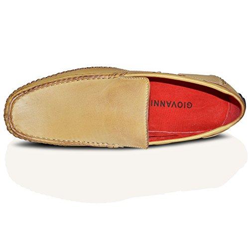 Giovanni - Herren Neue Slipper Bootschuhe Deckschuhe 100% Italienischer Leder Braun Beige