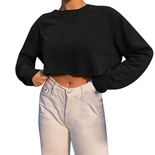 Supertong Damen Langarmshirt Crop Pullover Freizeit Einfarbig Rundhals Langarm T-Shirt Bluse Tops Kurzer Sweatshirt Herbst Dünn Pulli Mode Elegant Lose Jumper Outwear