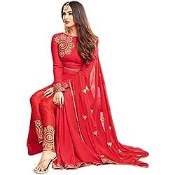 Aryan Fashion Women Georgette Wedding Emboirdery Semi-Stitched Salwar Suit (AFB_10637_Red)