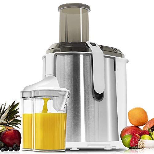 Cecotec StrongTitanium XXL Licuadora para Frutas y Verduras con 19000 RPM, 1300 W, Canal Entrada 75 mm, Disco Titanio, 2 Velocidades y Libre de BPA, Blanco