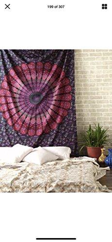 Raajsee arazzo mandala telo indiano cotone, hippy bohémien viola arazzo da parete,teli copritutto arredo,dimensione copriletto matrimoniale 210x220cms ,regalo di natale,tappetino yoga