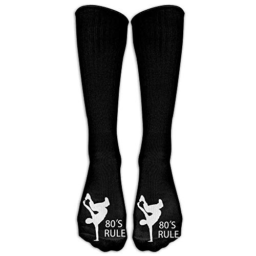 hgfyef 80s Rule Break Dancer Casual Unisex Sock Knee Long High Socks Sport Athletic Crew Socks One Size 50CM