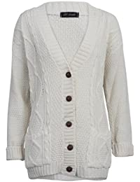 b00deaa36c 52I New Womens Casual Chunky Knitted Aran Button Up Ladies Cardigan