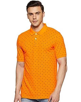Amazon Brand - House & Shields Men's Striped Regular fit Polo (SS19-HSK-33_Tango Orange_S)