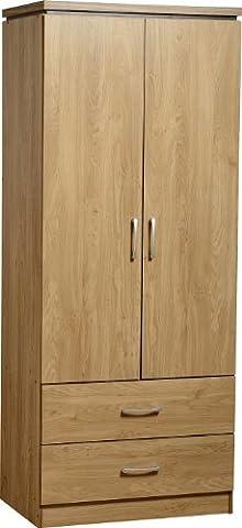 Seconique Charles 2 Door 2 Drawer Wardrobe - Oak Effect