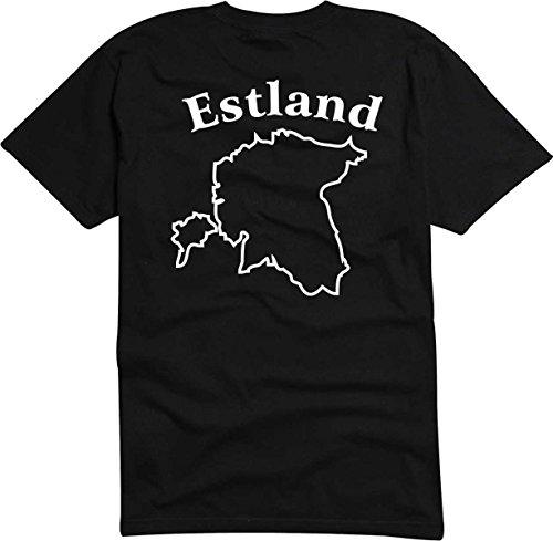 TShirt Ländershirt Estland mit Landkarte - Brustaufdruck Schwarz