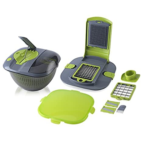 Tower Health Salad Spinner with Mandoline, Green