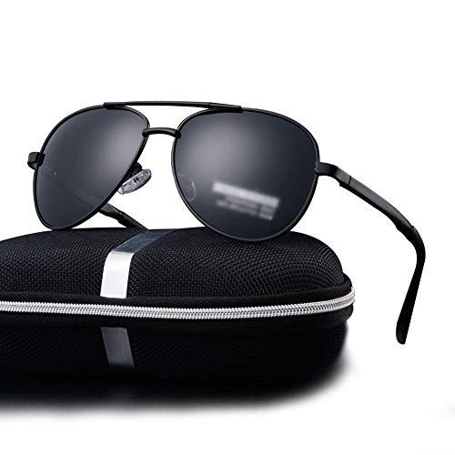 WULE-RYP Polarisierte Sonnenbrille mit UV-Schutz Fashion Aviator Sonnenbrillen - Mirrored Polarized Lens für Herren. Superleichtes Rahmen-Fischen, das Golf fährt (Farbe : Black/Grey)