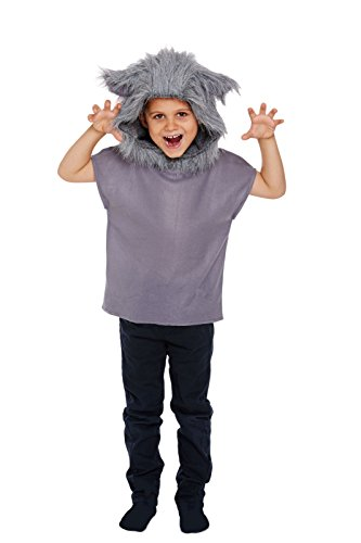 Bad Kostüm Bunny - GCC Fashion Store Child Wolf Animal Costume Kids Cosplay Big Bad Grey Fancy Dress Top (Medium 7-9 Years)