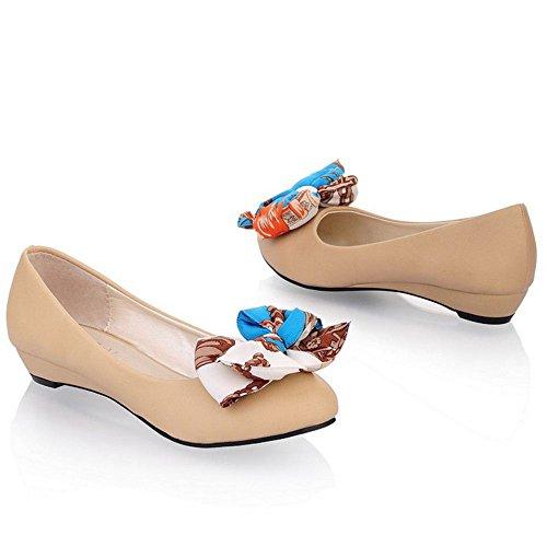 COOLCEPT Femme Mode A Enfiler Escarpins Avec Douce lacets Bow abricot