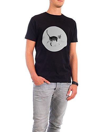 """Design T-Shirt Männer Continental Cotton """"Cat Milk"""" - stylisches Shirt Tiere Kindermotive von Doozal Collective Schwarz"""