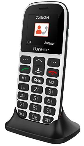 Teléfono Móvil Funker - C65 Blanco Easy Plus- para Personas Mayores con botón SOS y Base cargadora. Cámara de Fotos y Agenda con Fotocontactos.