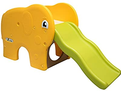 LittleTom plastic Slide wavy chute elephant shaped 153x50x73cm for toddler Yellow Green