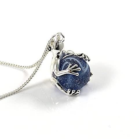 Indigo Blue Sea Glass Marble in Silver Frog Locket Necklace