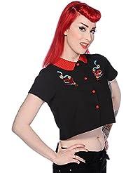 Camisa prohibido Golondrinas rojas Negro Corto