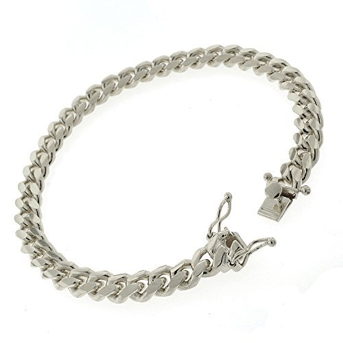 .925 Sterling Silver 7.5mm Solid Miami Cuban Curb Link Chain Bracelet Rhodium Plated 8.5 by In Style Designz